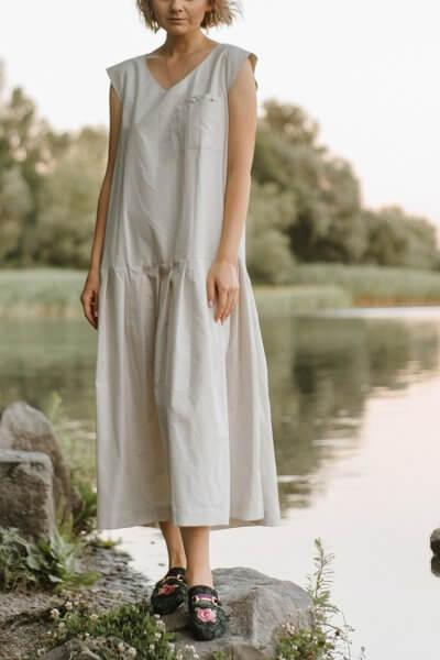 Хлопковое платье с карманом MNTK_MTDRS203, фото 3 - в интеренет магазине KAPSULA