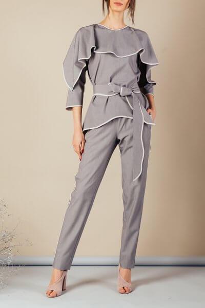 Костюм с воланом на топе MMT_092_091_suit_gray_gray, фото 1 - в интеренет магазине KAPSULA