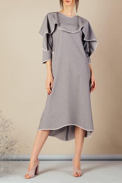 Платье миди с воланом на плечах MMT_092a_dress_gray_gray, фото 1 - в интеренет магазине KAPSULA