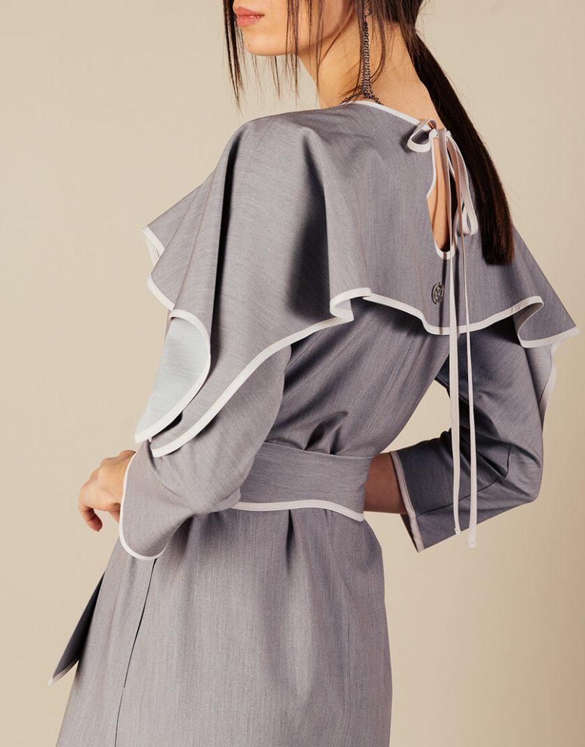 Платье миди с воланом на плечах MMT_092a_dress_gray_gray, фото 1 - в интернет магазине KAPSULA