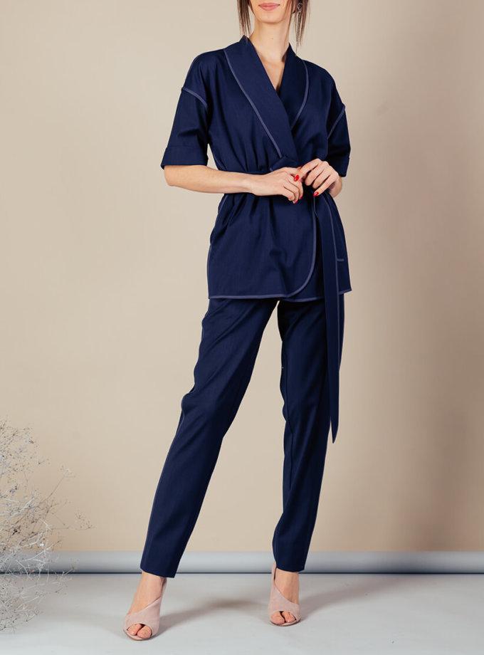Костюм с кимоно из тонкой шерсти MMT_097_091а_suit_classik_blue, фото 1 - в интернет магазине KAPSULA