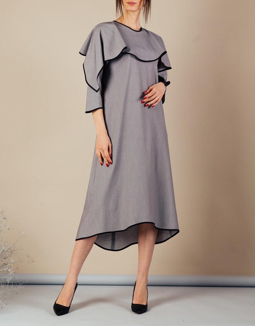 Платье миди с воланом на плечах MMT_092a_dress_gray_black, фото 1 - в интернет магазине KAPSULA