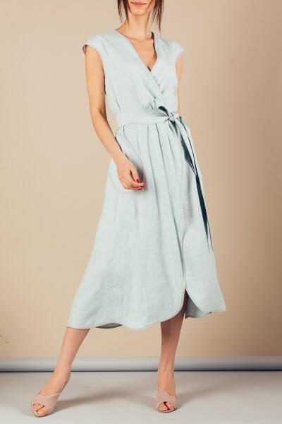 Льняное платье на запах MMT_074_linen dress, фото 3 - в интеренет магазине KAPSULA