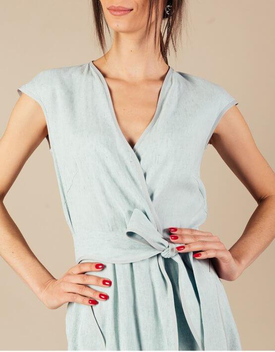 Льняное платье на запах MMT_074_linen dress, фото 7 - в интеренет магазине KAPSULA