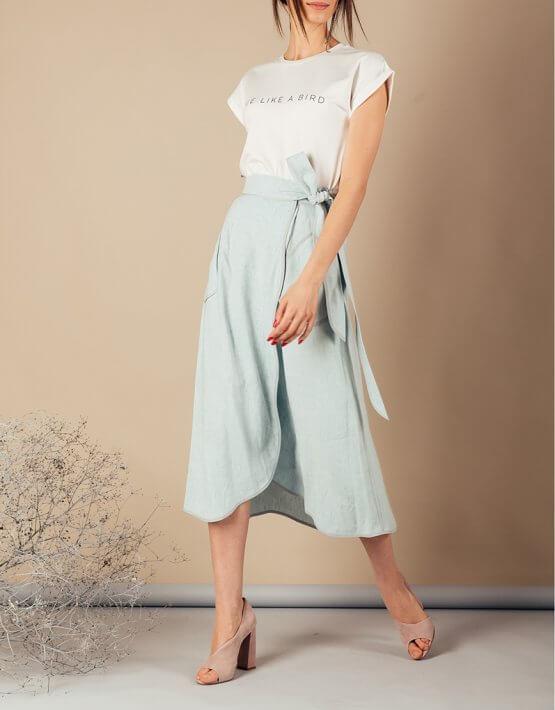 Льняная юбка на запах MMT_079_linen skirt, фото 8 - в интеренет магазине KAPSULA