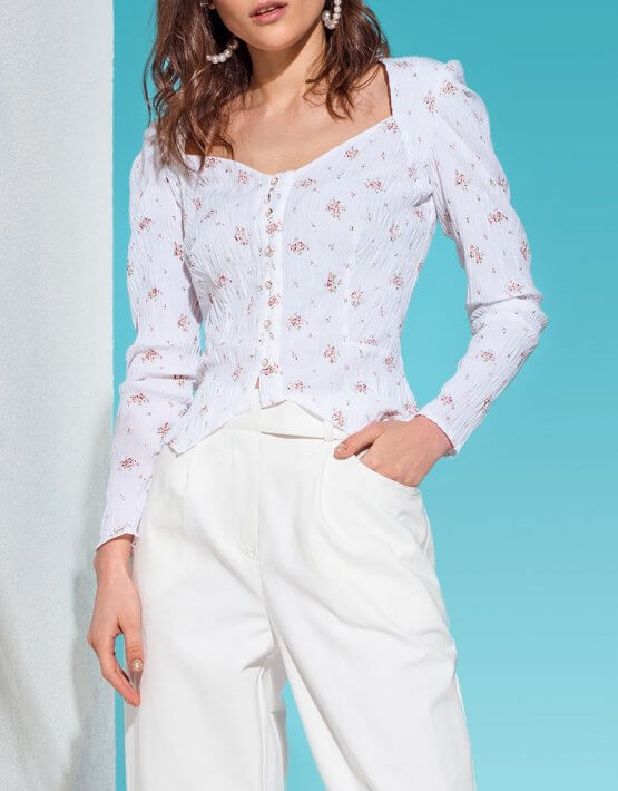 Хлопковая блуза на пуговицах KS_AND_KS_SS-22-04, фото 2 - в интеренет магазине KAPSULA