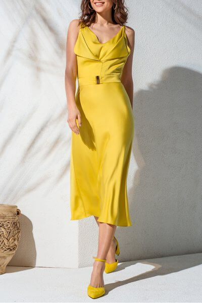 Двухслойное платье с поясом KS_AND_KS_SS-22-08, фото 1 - в интеренет магазине KAPSULA