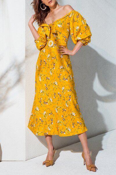 Платье с открытыми плечами KS_AND_KS_SS-22-15, фото 1 - в интеренет магазине KAPSULA