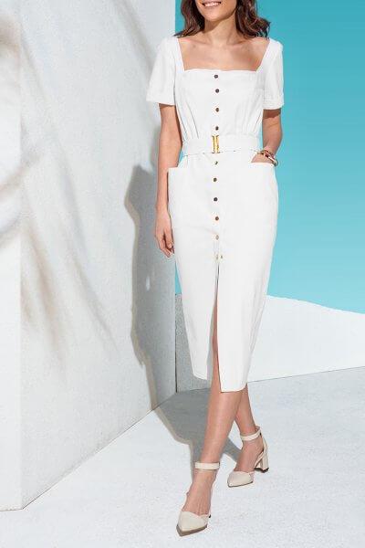 Джинсовое платье на кнопках с поясом KS_AND_KS_SS-22-23, фото 1 - в интеренет магазине KAPSULA