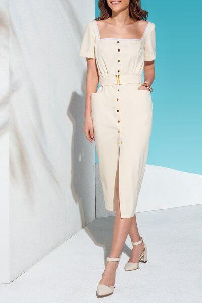 Джинсовое платье на кнопках с поясом KS_AND_KS_SS-22-25, фото 1 - в интеренет магазине KAPSULA