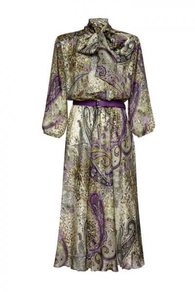 Шелковое платье с бантом LKC_SUV2005, фото 1 - в интеренет магазине KAPSULA