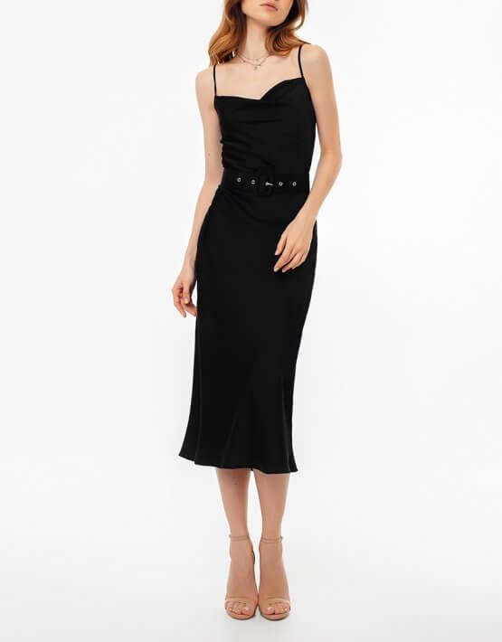 Платье на тонких бретелях с поясом MGN_1719CH, фото 4 - в интеренет магазине KAPSULA