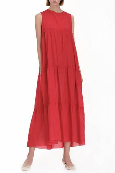 Ярусное платье из хлопка MISS_DR-010-red, фото 8 - в интеренет магазине KAPSULA