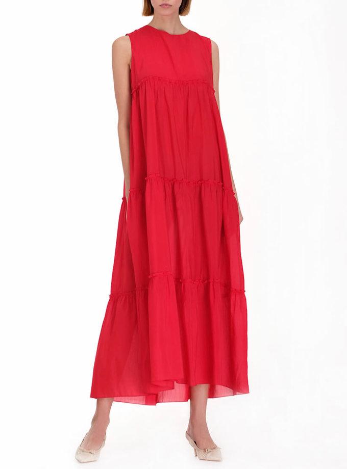 Ярусное платье из хлопка MISS_DR-010-red, фото 1 - в интернет магазине KAPSULA