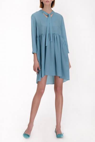 Шелковое платье с декоративным шарфом MISS_DR-012-blue, фото 1 - в интеренет магазине KAPSULA