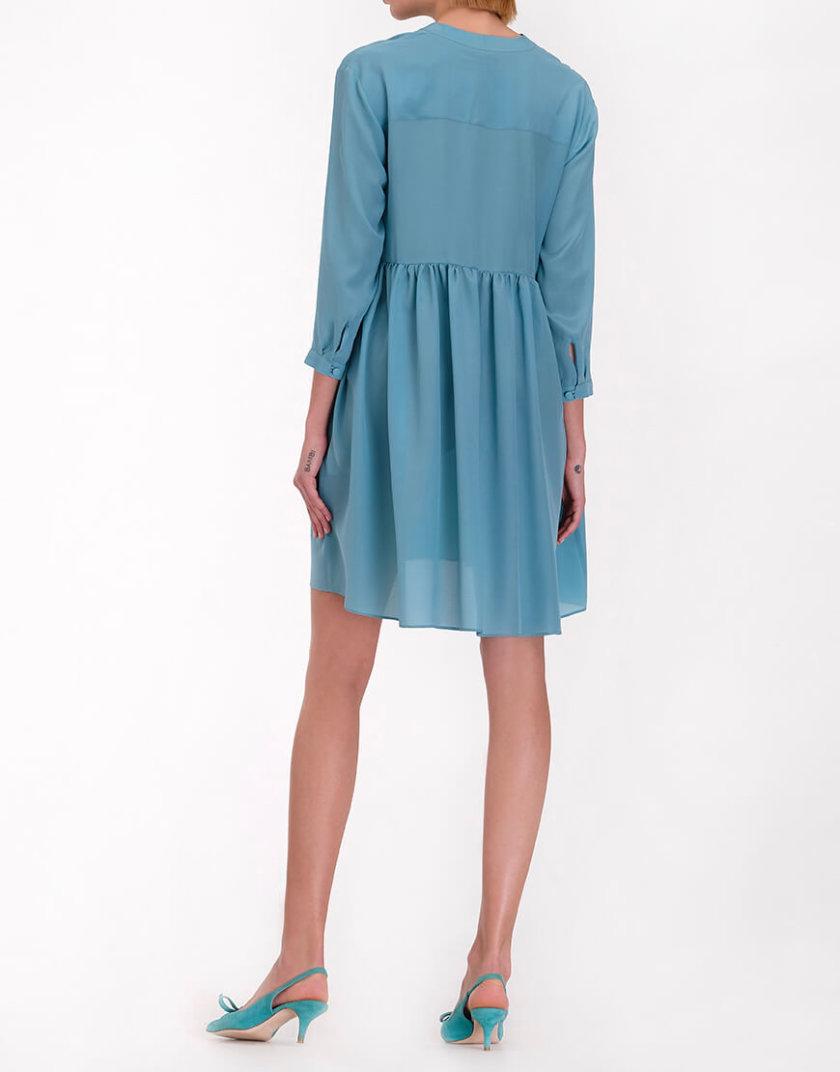 Шелковое платье с декоративным шарфом MISS_DR-012-blue_outlet, фото 1 - в интернет магазине KAPSULA