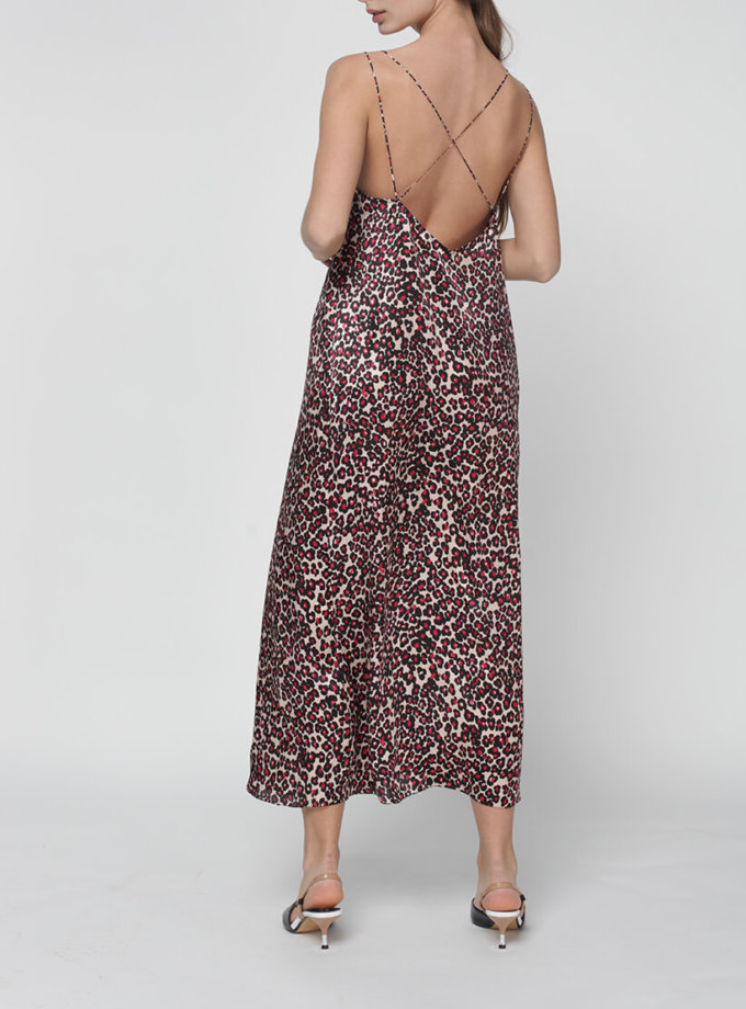 Шелковое платье Daisy с открытой спиной MISS_DR-016-leo, фото 1 - в интернет магазине KAPSULA