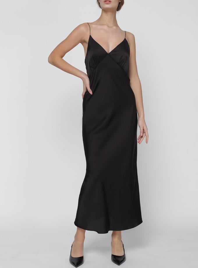 Платье комбинация Peony со стразами MISS_DR-017-black, фото 1 - в интернет магазине KAPSULA