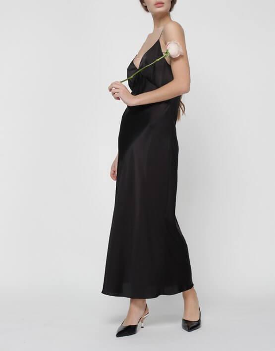 Платье комбинация Peony со стразами MISS_DR-017-black, фото 6 - в интеренет магазине KAPSULA