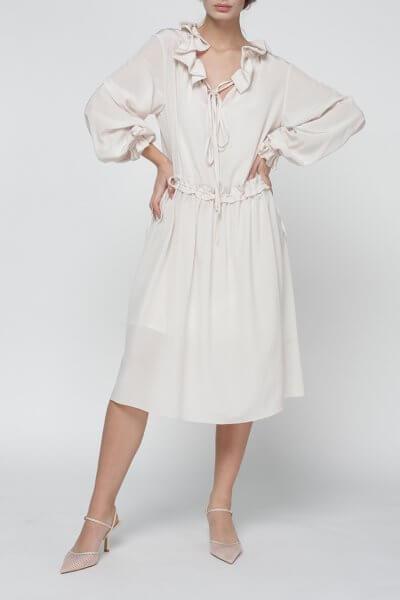 Шелковое платье Jasmine с  шарфом MISS_DR-019-beige, фото 1 - в интеренет магазине KAPSULA
