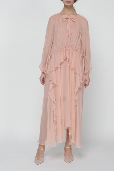 Шелковое платье Liliya на кулиске MISS_DR-020-nude, фото 1 - в интеренет магазине KAPSULA