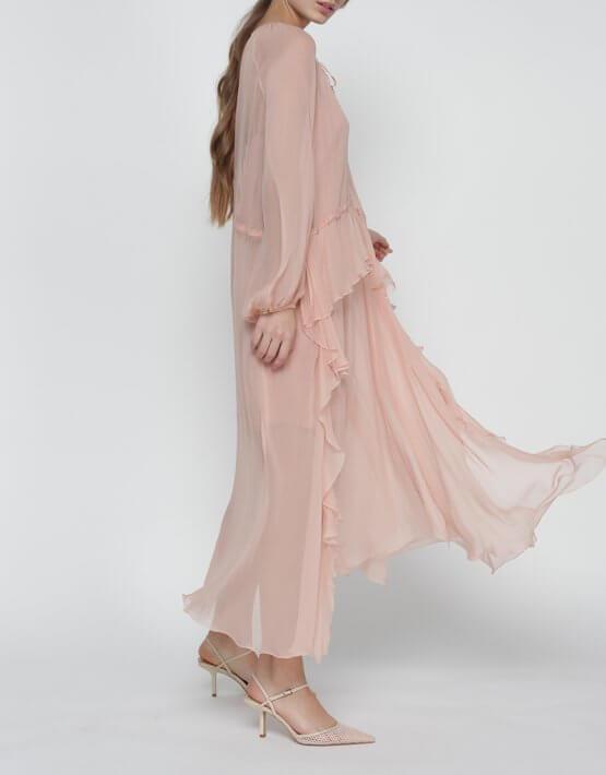Шелковое платье Liliya на кулиске MISS_DR-020-nude, фото 6 - в интеренет магазине KAPSULA
