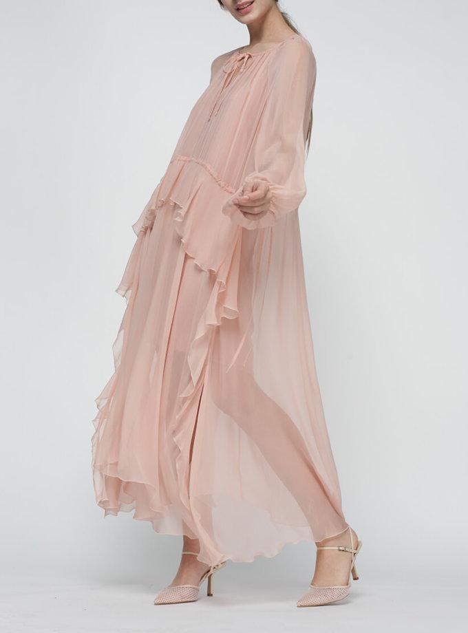 Шелковое платье Liliya на кулиске MISS_DR-020-nude, фото 1 - в интернет магазине KAPSULA