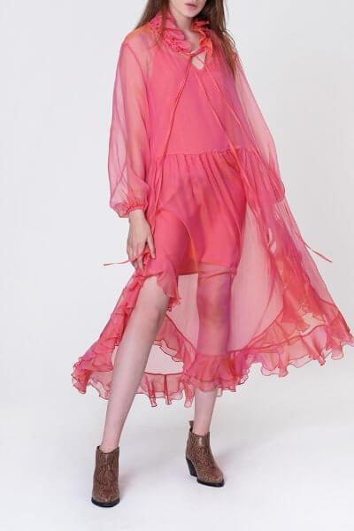 Шелковое платье Orquidea с воланами MISS_DR-021-pink, фото 1 - в интеренет магазине KAPSULA