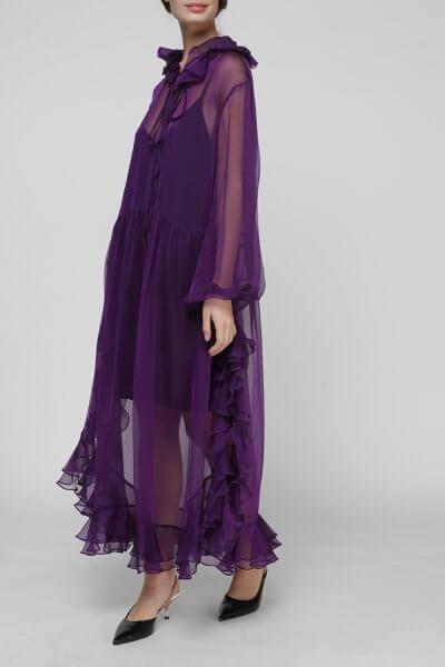 Шелковое платье Orquidea с воланами MISS_DR-021-violet, фото 5 - в интеренет магазине KAPSULA