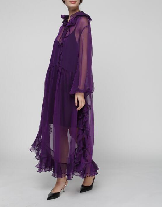 Шелковое платье Orquidea с воланами MISS_DR-021-violet, фото 6 - в интеренет магазине KAPSULA