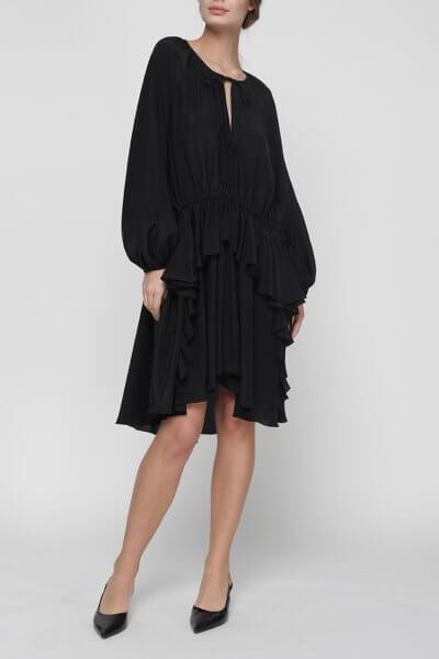 Шелковое платье Liliya с воланом MISS_DR-023-black, фото 1 - в интеренет магазине KAPSULA