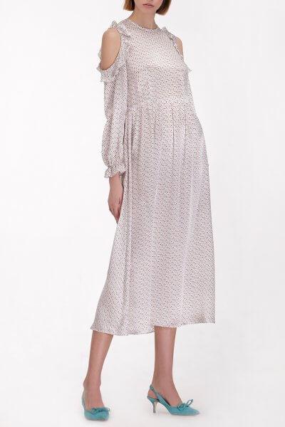 Шелковое платье с открытыми плечами MISS_DR-13-white, фото 1 - в интеренет магазине KAPSULA