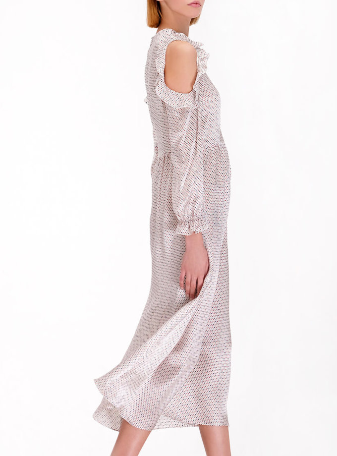 Шелковое платье с открытыми плечами MISS_DR-13-white_outlet, фото 1 - в интернет магазине KAPSULA