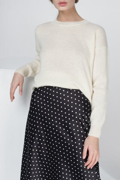 Тонкий свитер из кидмохера MISS_PU-013-white, фото 1 - в интеренет магазине KAPSULA