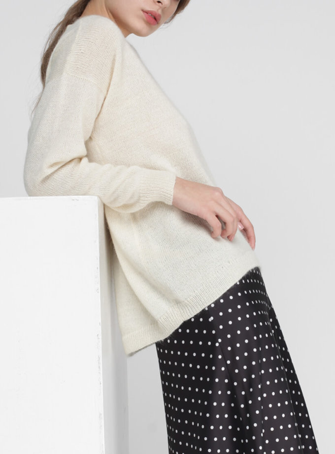Тонкий свитер из кидмохера MISS_PU-013-white, фото 1 - в интернет магазине KAPSULA