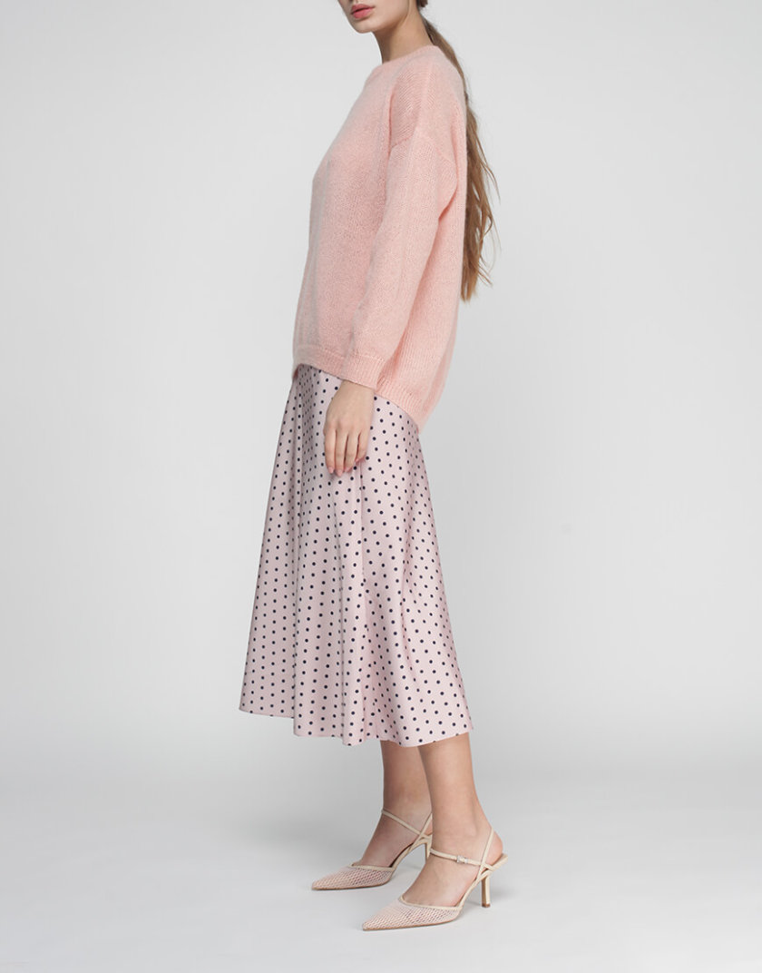 Юбка миди в горох MISS_SK-007-pink, фото 1 - в интернет магазине KAPSULA