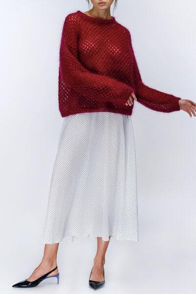 Шелковая юбка в горох MISS_SK-07-white, фото 1 - в интеренет магазине KAPSULA