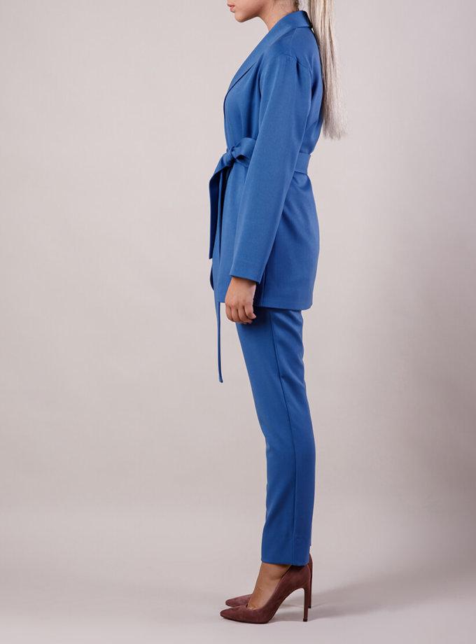 Брючный костюм с поясом MMT_015-047-blue, фото 1 - в интернет магазине KAPSULA