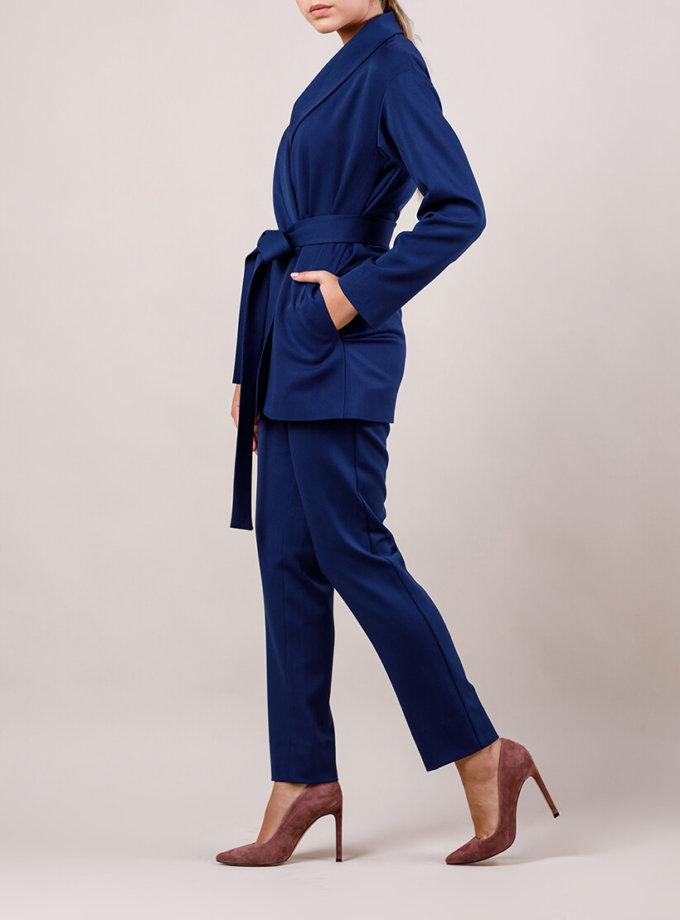 Брючный костюм с поясом MMT_015-047-dark blue, фото 1 - в интернет магазине KAPSULA
