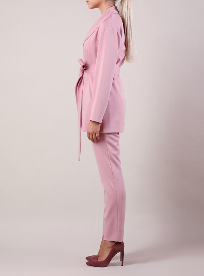 Брючный костюм с поясом MMT_015-047-rose, фото 1 - в интернет магазине KAPSULA