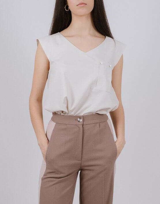 Блуза из хлопка с карманом MNTK_MTBL1937, фото 4 - в интеренет магазине KAPSULA