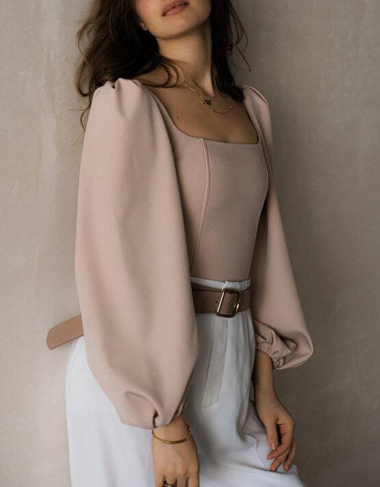 Корсет с рукавами-буфами MSY_beige_corset, фото 3 - в интеренет магазине KAPSULA