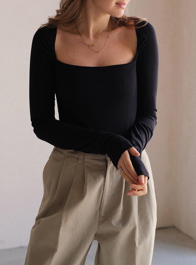 Боди из хлопка с квадратным декольте MSY_black_bodysuit, фото 1 - в интеренет магазине KAPSULA