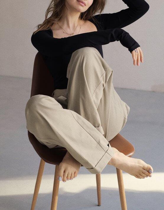 Боди из хлопка с квадратным декольте MSY_black_bodysuit, фото 5 - в интеренет магазине KAPSULA