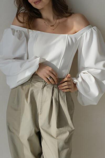 Корсет с рукавами-буфами MSY_offwhite_corset, фото 1 - в интеренет магазине KAPSULA