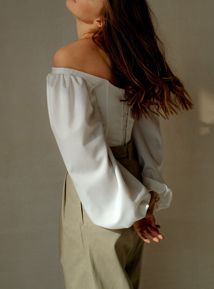 Корсет с рукавами-буфами MSY_offwhite_corset, фото 1 - в интернет магазине KAPSULA