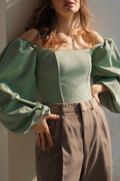 Корсет с рукавами-буфами MSY_pastelgreen_corset, фото 1 - в интеренет магазине KAPSULA