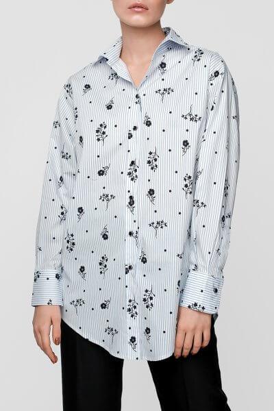 Хлопковая блуза в принт NM_308, фото 13 - в интеренет магазине KAPSULA