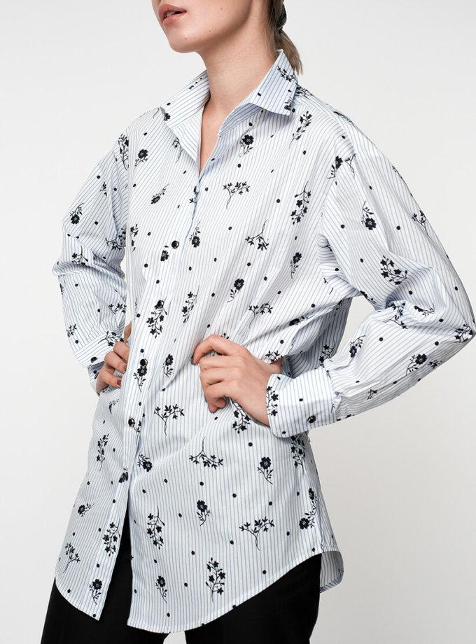Хлопковая блуза в принт NM_308, фото 1 - в интеренет магазине KAPSULA