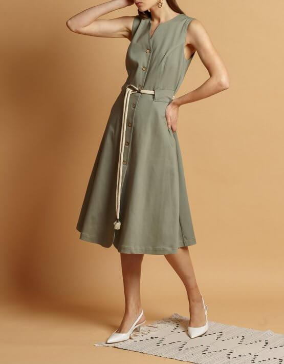 Хлопковое платье с поясом INS_SS20_11_01, фото 5 - в интеренет магазине KAPSULA